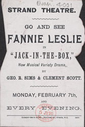 Advert for Fannie Leslie appearing in the play 'Jack in the Box', reverse side